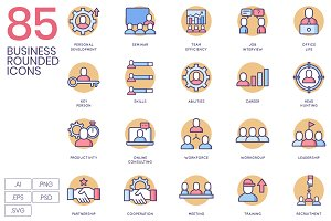 85 Business Icons - Flat Circular