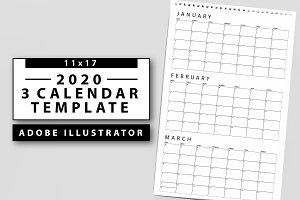 2019 - 3 Month Calendar Template