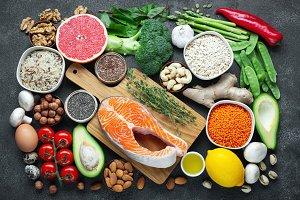 Healthy food clean eating selection: