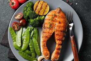 Tasty and healthy salmon steak with
