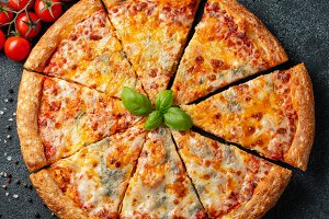 Delicious Italian pizza four cheeses