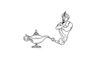 Genie Coming Out of Oil Lamp Black a