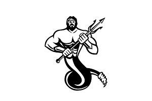 Typhoeus Holding Trident Mascot Blac