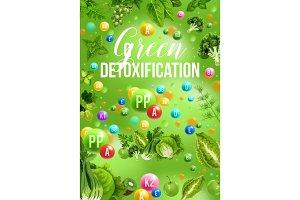 Detox color diet, green day menu