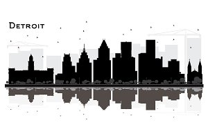Detroit Michigan City Skyline
