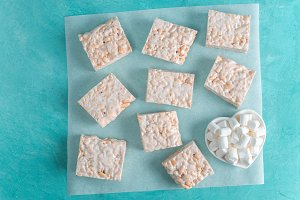 Homemade bars of Marshmallow and