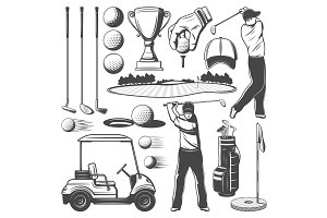 Golf sporting items, player icons