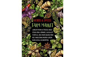 Farm market with herbs and spices