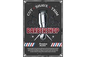 Barbershop, scissors and razor
