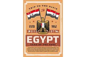 Egyptian flag and emblem, travel