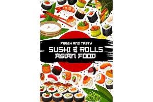 Japanese restaurant sushi and rolls