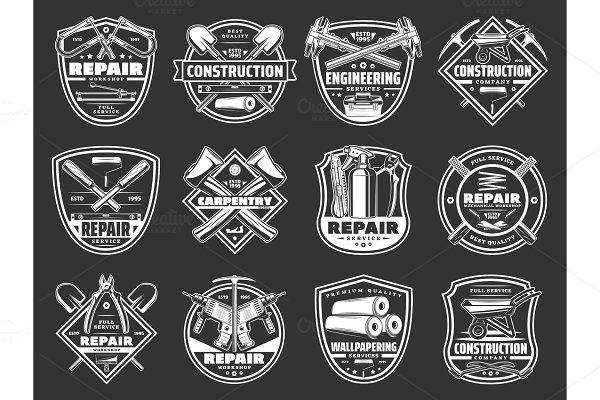 Repair tool and building instrument badge set ~ Illustrations