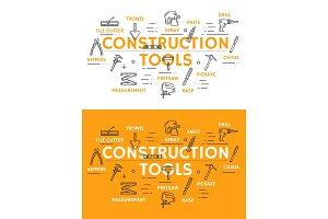 Construction tools outline symbols