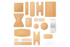 Adhesive plasters and patches