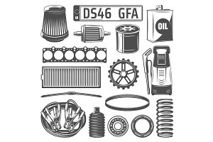 Car spares, fliters and oil