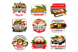 Sushi bar or restaurant icons