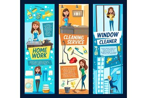 Cleaning service, woman and tools