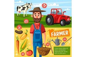 Farmer profession, farm harvest, cow