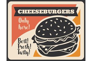 Fast food cheeseburger, retro vector