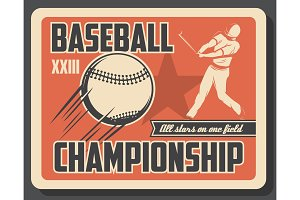 Baseball sport retro invitation