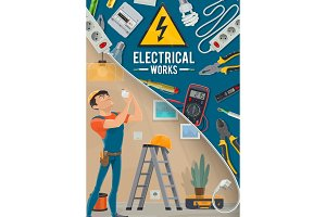 Electrical works, electrician, tools