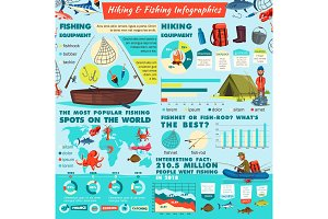 Camping, fishing sport infographics