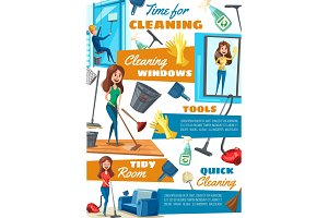 Washing windows and cleaning service