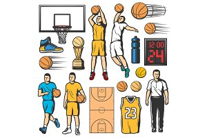 Basketball icons, players and items