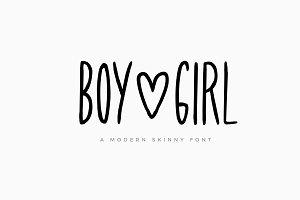 Boy & Girl Skinny Font + Extras