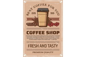 Coffee shop retro poster, paper cup
