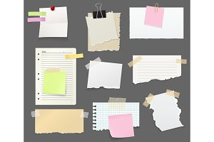 Paper pieces, note and reminders