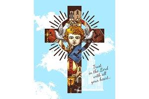 Catholic religion, angel on cross
