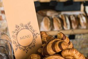 close up of fresh baked croissants i