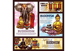 Buddhism religion symbols and items