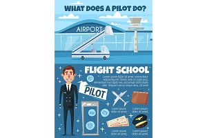 Flight school, pilot and airport