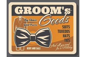Groom goods, tuxedo and bowtie