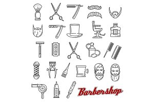 Barber shop outline icons, vector
