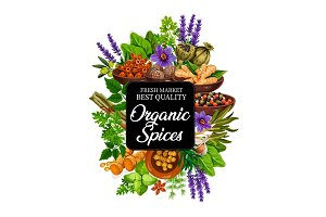 Organic spices, herbs and plants