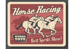 Horse racing retro poster