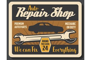 Repair shop, wrench and vehicle