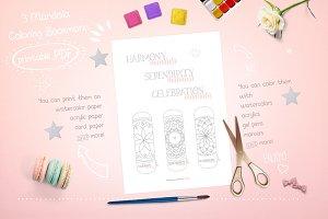 Mandala coloring bookmarks printable
