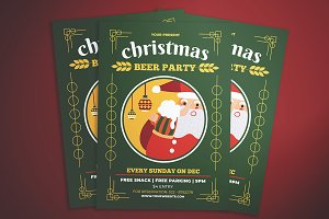 Christmas Beer Party Flyers