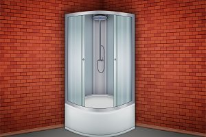 Shower cabine and Red brick wall