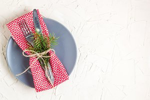 Christmas menu background with fork