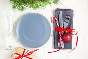 Christmas table place setting with