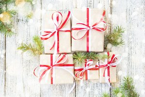Christmas gift boxes with red and