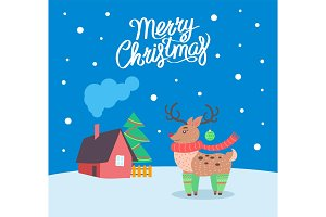 Merry Christmas Reindeer Poster with