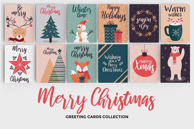 Hand Drawn Christmas Greeting Cards Illustrations Creative Market