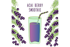 Cute frame with glass of acai