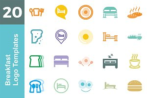 20 Logo Breakfast Templates Bundle